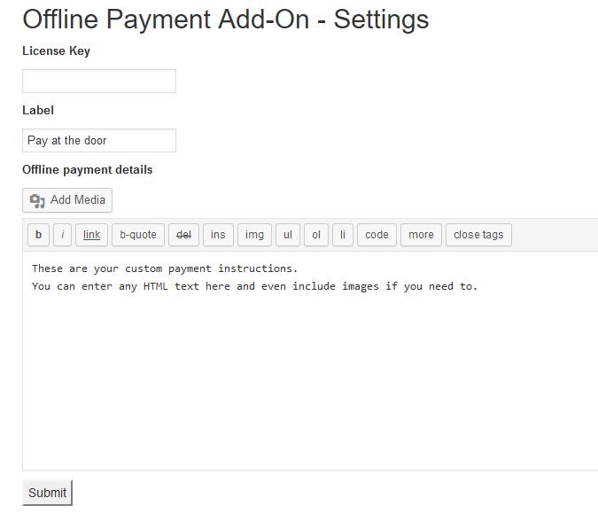 offline payment settings Offline Payment
