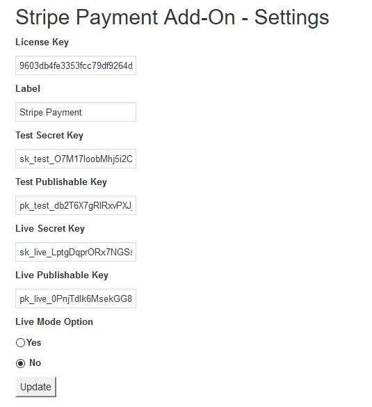 stripe settings Stripe Payment Gateway
