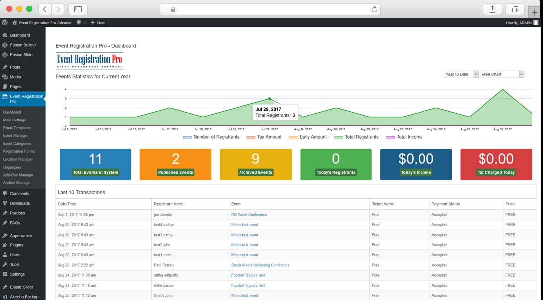 Event Registration Pro Dashboard